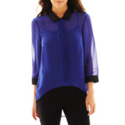 nicole by Nicole Miller® Pleather-Collar Top
