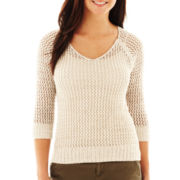 jcp™ Open-Stitch Sweater - Petite