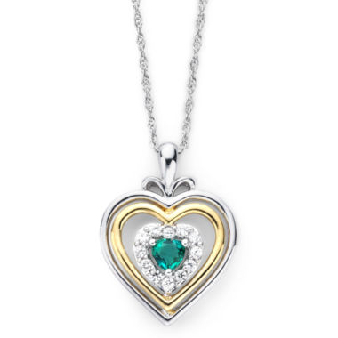 jcpenney.com | Lab-Created Emerald & White Sapphire Two-Tone Heart Pendant Necklace
