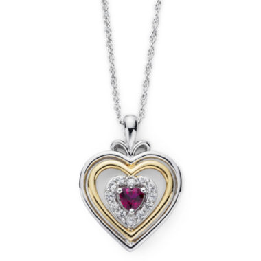 jcpenney.com | Lab-Created Ruby & White Sapphire Two-Tone Heart Pendant Necklace