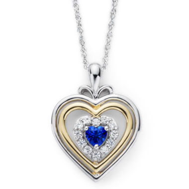 jcpenney.com | Lab-Created Blue & White Sapphire Two-Tone Heart Pendant Necklace