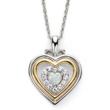 jcpenney.com | Lab-Created Opal & White Sapphire Two-Tone Heart Pendant Necklace