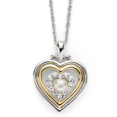 jcpenney.com | Cultured Freshwater Pearl & Lab-Created White Sapphire Heart Pendant Necklace