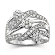 diamond blossom 1/2 CT. T.W. Diamond Cluster Sterling Silver Orbit Ring