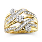 diamond blossom 1/2 CT. T.W. Diamond Cluster Orbit Ring