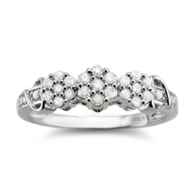 jcpenney.com | diamond blossom 1/4 CT. T.W. Diamond Cluster Sterling Silver Ring