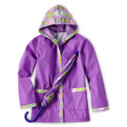 Fantasia Owl Print Rain Slicker and Umbrella - Girls 4-6X