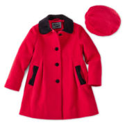 Rothschild Velvet Bow Faux Wool Dress Coat – Girls 2t-6