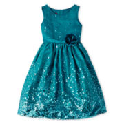 Princess Faith Sleeveless Sequin Dress – Girls 7-12
