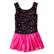 Sleeveless Heart-Print Skirt Leotard – Girls 4-14