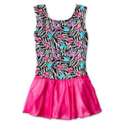 Sleeveless Zebra-Print Skirt Leotard – Girls 4-14
