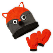 Fox Hat and Gloves Set - Toddler Boys One Size