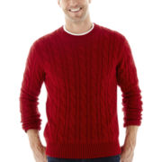 St. John's Bay® Cable-Knit Crewneck Sweater