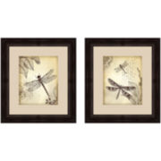 Vintage Dragonflies Set of 2 Framed Wall Art