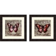 Textured Butterflies Set of 2 Framed Wall Art