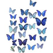 Blue Butterflies II Canvas Wall Art