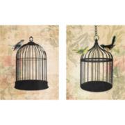Birdcage Filigree Set of 2 Canvas Wall Art