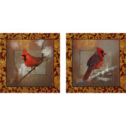 Red Birds Set of 2 Canvas Wall Art