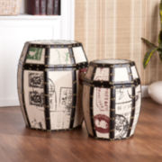 Paris Postcard Burlap Storage Drums- Set of 2