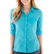 jcp™ Roll-Sleeve Relaxed-Fit Button-Front Shirt