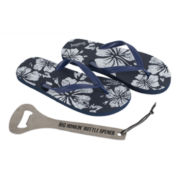 Wembley™ Tropical Mens Flip Flops and Bottle Opener Set