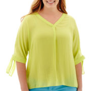 Stylus™ Tie-Sleeve Blouse - Plus