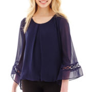 by&by 3/4-Sleeve Bubble-Hem Crochet-Inset Top