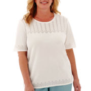 Alfred Dunner® Sweet Melody Short-Sleeve Pointelle Sweater Shell - Plus