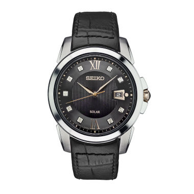 jcpenney.com | Seiko Mens Black Strap Watch-Sne427