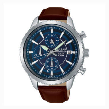 jcpenney.com | Pulsar® Men'S Brown Blue Dial Solar Chronograph Leather Strap Watch Pz6015