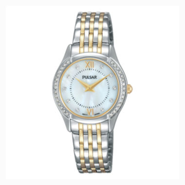 jcpenney.com | Pulsar® Ladies Two Tone with Mother of Pearl Dial and Swarovski Crystal Accents PM2233