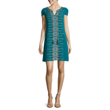 jcpenney.com | Luxology Cap-Sleeve Embroidered Shift Dress