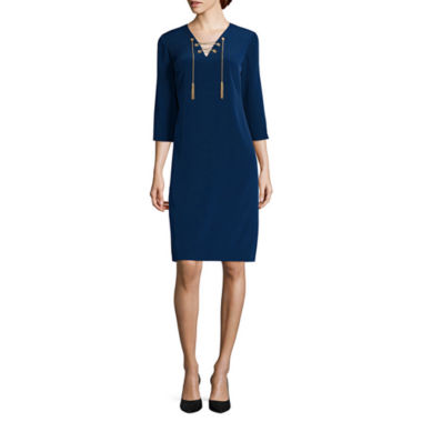 jcpenney.com | BE by CHETTA B 3/4-Sleeve Grommet Lace-Up Shift Dress