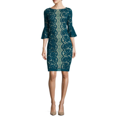 jcpenney.com | Danny & Nicole® 3/4-Sleeve Lace Sheath Dress