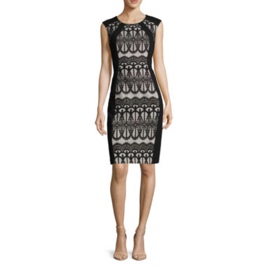 jcpenney.com | RN Studio by Ronni Nicole Sleeveless Colorblock Lace Scuba Sheath Dress - Petite