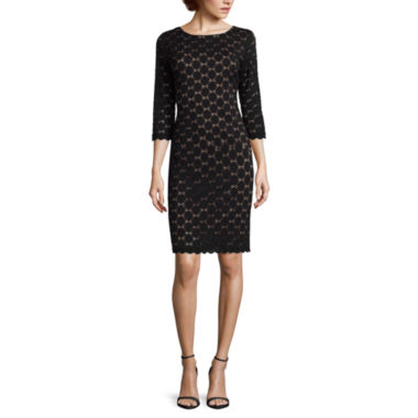 jcpenney.com | RN Studio by Ronni Nicole 3/4-Sleeve Exposed-Zipper Lace Sheath Dress - Petite