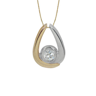 jcpenney.com | Diamonart® 10K Two-Tone Gold Cubic Zirconia Teardrop Pendant