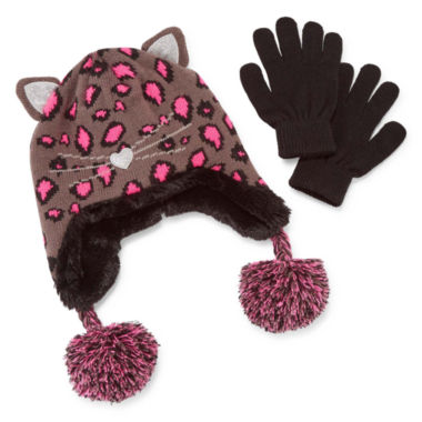 jcpenney.com | Capelli of New York Leopard Trapper Hat & Gloves Set - Girls 7-16