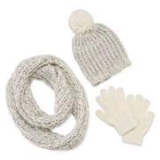 Capelli of New York Girls® 3-pc. Beanie, Scarf and Magic Glove Set - Girls 7-16