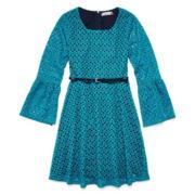 Speechless® Bell-Sleeve Teal Lace Skater Dress - Girls 7-16