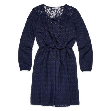 jcpenney.com | Speechless® Long-Sleeve Navy Peasant Dress - Girls 7-16 and Plus