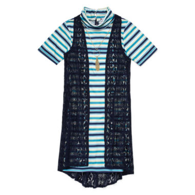 jcpenney.com | Speechless® Short-Sleeve Shift Dress With Vest - Girls 7-16