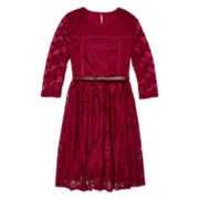 Arizona 3/4-Sleeve Burgundy Lace Skater Dress - Girls 7-16 and Plus