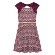Speechless® Sleeveless Burgundy Belted Skater Dress - Girls Plus