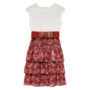 Speechless® Sleeveless Lace Floral Chiffon Tiered Skater Dress - Girls 7-16