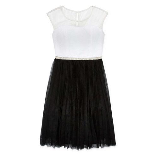 Speechless® Sleeveless Black and White Illusion-Neck Skater Dress - Girls 7-16 and Plus