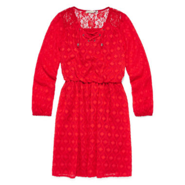 jcpenney.com | Speechless® Long-Sleeve Orange Textured Chiffon Peasant Dress - Girls Regular Sizes