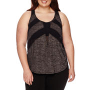 City Streets® Mesh-Inset Tank Top - Juniors Plus