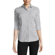 Worthington® Elbow-Sleeve Clean-Front Shirt - Petite