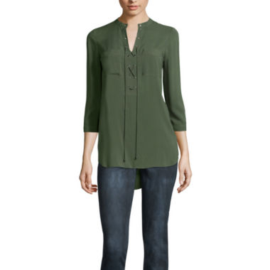 jcpenney.com | a.n.a Long Sleeve Y Neck Woven Blouse-Talls